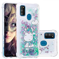 Tiny Unicorn Dynamic Liquid Glitter Sand Quicksand Star TPU Case for Samsung Galaxy M30s