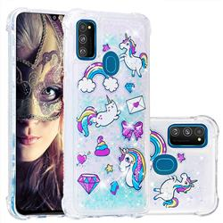 Fashion Unicorn Dynamic Liquid Glitter Sand Quicksand Star TPU Case for Samsung Galaxy M30s
