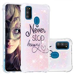 Never Stop Dreaming Dynamic Liquid Glitter Sand Quicksand Star TPU Case for Samsung Galaxy M30s