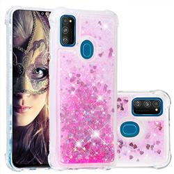 Dynamic Liquid Glitter Sand Quicksand TPU Case for Samsung Galaxy M30s - Pink Love Heart
