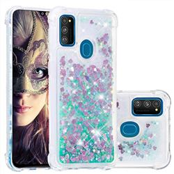 Dynamic Liquid Glitter Sand Quicksand TPU Case for Samsung Galaxy M30s - Green Love Heart