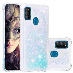 Dynamic Liquid Glitter Sand Quicksand TPU Case for Samsung Galaxy M30s - Silver Blue Star