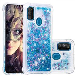 Dynamic Liquid Glitter Sand Quicksand TPU Case for Samsung Galaxy M30s - Blue Love Heart