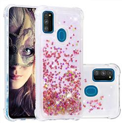 Dynamic Liquid Glitter Sand Quicksand TPU Case for Samsung Galaxy M30s - Rose Gold Love Heart