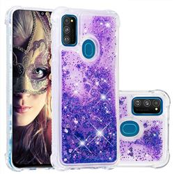 Dynamic Liquid Glitter Sand Quicksand Star TPU Case for Samsung Galaxy M30s - Purple