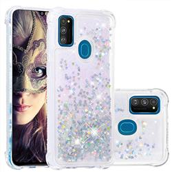 Dynamic Liquid Glitter Sand Quicksand Star TPU Case for Samsung Galaxy M30s - Silver