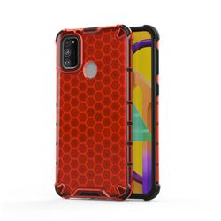 Honeycomb TPU + PC Hybrid Armor Shockproof Case Cover for Samsung Galaxy M30s - Red