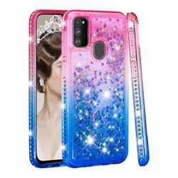 Diamond Frame Liquid Glitter Quicksand Sequins Phone Case for Samsung Galaxy M30s - Pink Blue