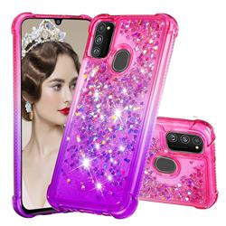 Rainbow Gradient Liquid Glitter Quicksand Sequins Phone Case for Samsung Galaxy M30s - Pink Purple