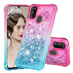 Rainbow Gradient Liquid Glitter Quicksand Sequins Phone Case for Samsung Galaxy M30s - Pink Blue