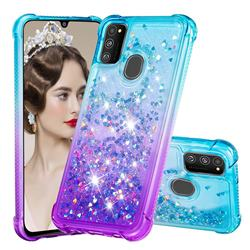 Rainbow Gradient Liquid Glitter Quicksand Sequins Phone Case for Samsung Galaxy M30s - Blue Purple