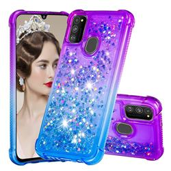Rainbow Gradient Liquid Glitter Quicksand Sequins Phone Case for Samsung Galaxy M30s - Purple Blue