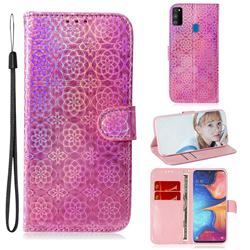 Laser Circle Shining Leather Wallet Phone Case for Samsung Galaxy M30s - Pink