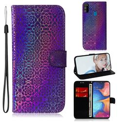 Laser Circle Shining Leather Wallet Phone Case for Samsung Galaxy M30s - Purple
