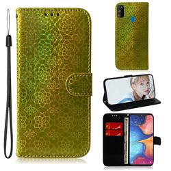 Laser Circle Shining Leather Wallet Phone Case for Samsung Galaxy M30s - Golden