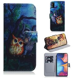 Oil Painting Owl PU Leather Wallet Case for Samsung Galaxy M30s