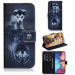 Wolf and Dog PU Leather Wallet Case for Samsung Galaxy M30s