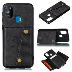Retro Multifunction Card Slots Stand Leather Coated Phone Back Cover for Samsung Galaxy M30s - Black