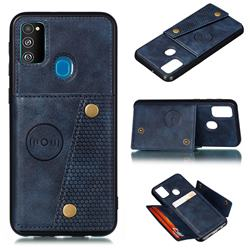 Retro Multifunction Card Slots Stand Leather Coated Phone Back Cover for Samsung Galaxy M30s - Blue