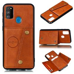 Retro Multifunction Card Slots Stand Leather Coated Phone Back Cover for Samsung Galaxy M30s - Brown