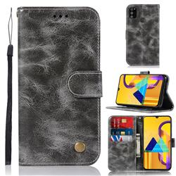 Luxury Retro Leather Wallet Case for Samsung Galaxy M30s - Gray