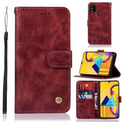 Luxury Retro Leather Wallet Case for Samsung Galaxy M30s - Wine Red