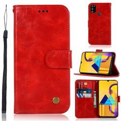 Luxury Retro Leather Wallet Case for Samsung Galaxy M30s - Red