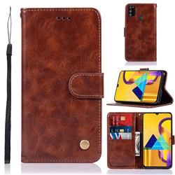 Luxury Retro Leather Wallet Case for Samsung Galaxy M30s - Brown