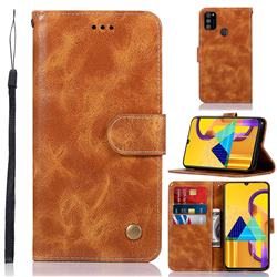 Luxury Retro Leather Wallet Case for Samsung Galaxy M30s - Golden