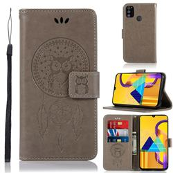 Intricate Embossing Owl Campanula Leather Wallet Case for Samsung Galaxy M30s - Grey