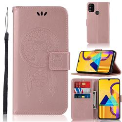 Intricate Embossing Owl Campanula Leather Wallet Case for Samsung Galaxy M30s - Rose Gold