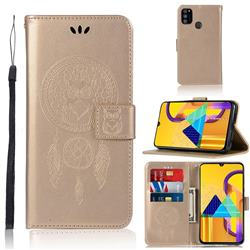 Intricate Embossing Owl Campanula Leather Wallet Case for Samsung Galaxy M30s - Champagne