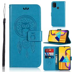 Intricate Embossing Owl Campanula Leather Wallet Case for Samsung Galaxy M30s - Blue