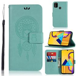 Intricate Embossing Owl Campanula Leather Wallet Case for Samsung Galaxy M30s - Green