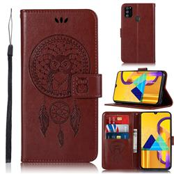 Intricate Embossing Owl Campanula Leather Wallet Case for Samsung Galaxy M30s - Brown