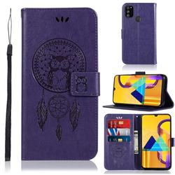 Intricate Embossing Owl Campanula Leather Wallet Case for Samsung Galaxy M30s - Purple