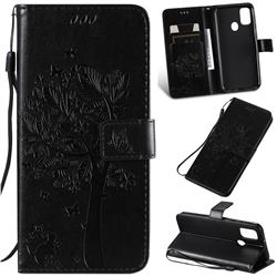 Embossing Butterfly Tree Leather Wallet Case for Samsung Galaxy M30s - Black