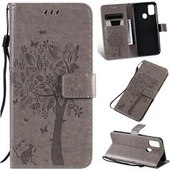 Embossing Butterfly Tree Leather Wallet Case for Samsung Galaxy M30s - Grey