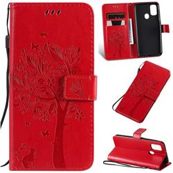 Embossing Butterfly Tree Leather Wallet Case for Samsung Galaxy M30s - Red