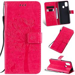 Embossing Butterfly Tree Leather Wallet Case for Samsung Galaxy M30s - Rose