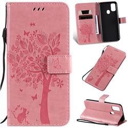 Embossing Butterfly Tree Leather Wallet Case for Samsung Galaxy M30s - Pink