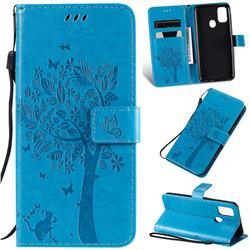 Embossing Butterfly Tree Leather Wallet Case for Samsung Galaxy M30s - Blue