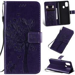 Embossing Butterfly Tree Leather Wallet Case for Samsung Galaxy M30s - Purple
