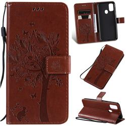 Embossing Butterfly Tree Leather Wallet Case for Samsung Galaxy M30s - Coffee