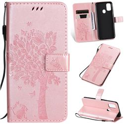 Embossing Butterfly Tree Leather Wallet Case for Samsung Galaxy M30s - Rose Pink