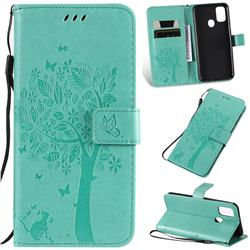 Embossing Butterfly Tree Leather Wallet Case for Samsung Galaxy M30s - Cyan