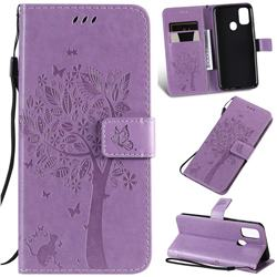 Embossing Butterfly Tree Leather Wallet Case for Samsung Galaxy M30s - Violet