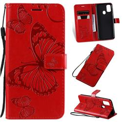 Embossing 3D Butterfly Leather Wallet Case for Samsung Galaxy M30s - Red