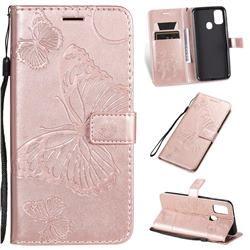Embossing 3D Butterfly Leather Wallet Case for Samsung Galaxy M30s - Rose Gold