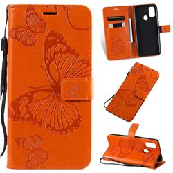 Embossing 3D Butterfly Leather Wallet Case for Samsung Galaxy M30s - Orange